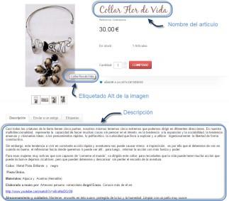 Descripción de una ficha de producto de tienda online